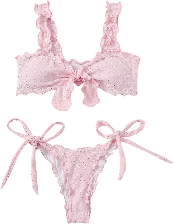 SheIn Women's Frill Bikini Top with Tie Side Panty 2 Piece Swimsuit Bathing Suits