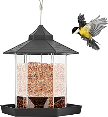 Petyoung Panorama Bird Feeder, Plastic Hanging Wild Bird Feeder for Outdoor Garden Yard Patio Backyard Decoration, Hexagon Shaped with Roof