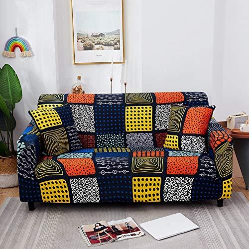 WXQY Funda de sofá elástica Floral para Sala de Estar Funda de sofá elástica de sección Transversal Moderna combinación de Funda de sofá de Esquina A7 3 plazas