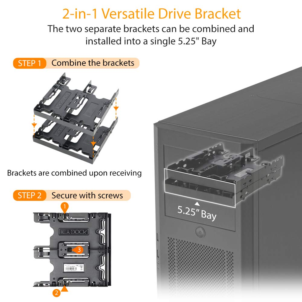 """ICY DOCK 4 x 2.5/"""" HDD//SSD Bracket Mount Kit Adapter for 5.25/"""" Drive Bay FLEX-FIT Quattro MB344SP"""