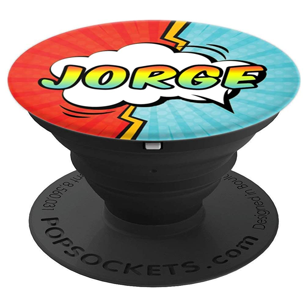 Jorge Gift Pop Comic Book Art Superhero Black Red Blue Men - PopSockets Grip and Stand for Phones and Tablets