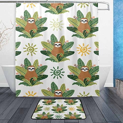 Cortina de chuveiro My Daily Sloth Tropical Leaves 152,4 x 182,8 cm com tapete e ganchos para banheiro, conjunto de cortina de banheiro com decoração de poliéster impermeável