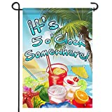 Anley |Double Sided| Premium Garden Flag, It's 5 o'Clock Somewhere Decorative Garden Flags - Weather Resistant & Double Stitched - 18 x 12.5 Inch