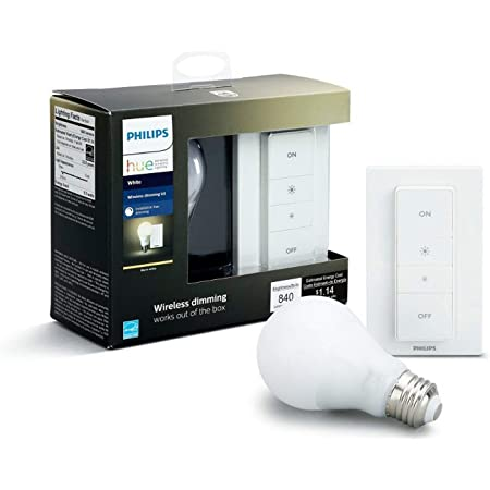 Philips Hue White - Bombilla LED individual (1 x 9.5 W, E27, iluminación conectada, luz blanca cálida regulable, compatible con Apple Homekit y Google Home, mando / interruptor incluido)