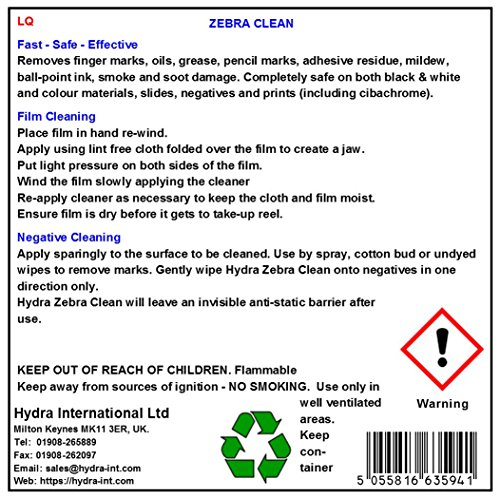 HYDRA Photo Negative Cleaner ZEBRA CLEAN 250 ml Film Cleaner Photographic Solution Emulsion Cleaner