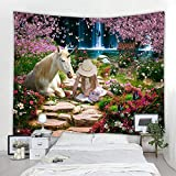 KHKJ Pegasuse Caballo Tapiz Unicornio Colgante de Pared Universo Estrellado Tapiz de Pared Mandala Bohemia Hippie Dormitorio Tapiz A7 200x150cm