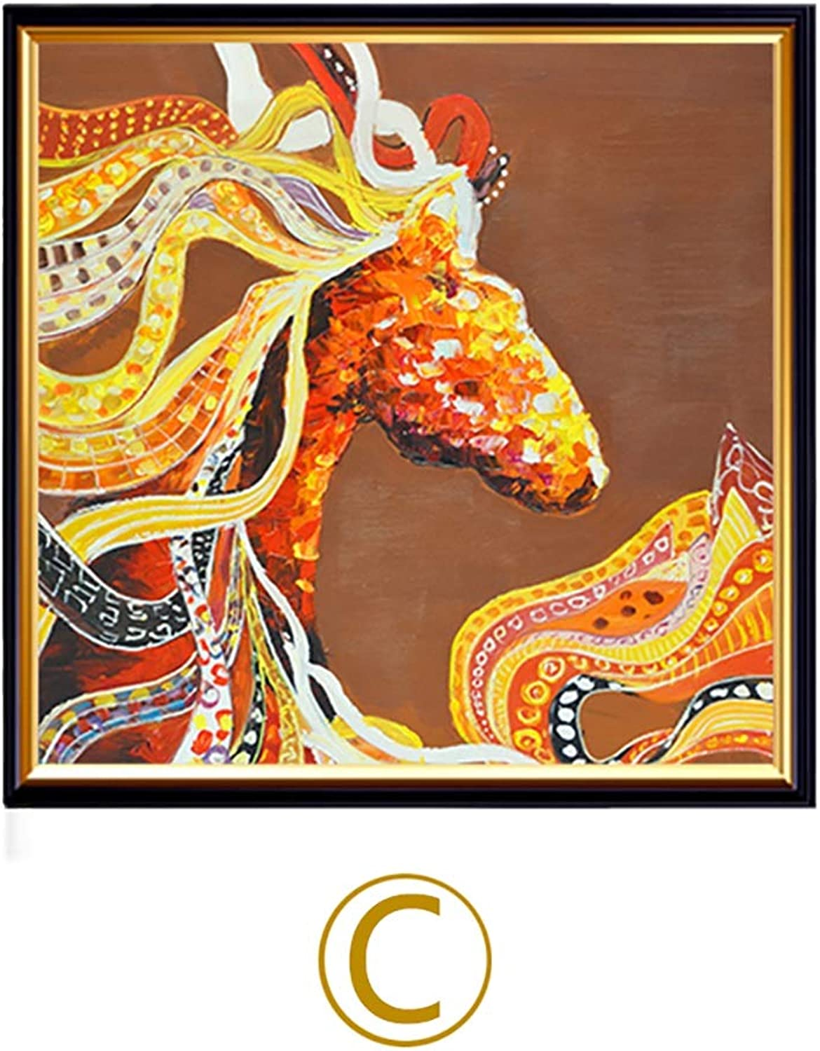 WENJUN Oil Painting Hand Painted Modern Stretched Canvas,Hand Painted Modern Horse Oil Painting On Canvas Handmade For Home Decorations,3 colors,4 Sizes ( color   C , Size   4040 cm )