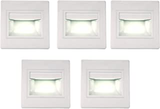 (5 Pack) LED Indoor Step Light, LED Recessed Mini Stair Light, Corner Wall Lamp Night Lighting Fixture, 2.5W 6000K (Cold White)