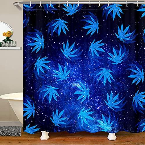 Marihuana Weed Leaf Badevorhang 180x210 (BxL), Galaxy Himmel Sternenrige Duschvorhang für Kinder Mädchen, Cannabis Blätter Hippie Blauer Vorhang Sets Trippy Botanisches Badezimmer Vorhang Schwarz