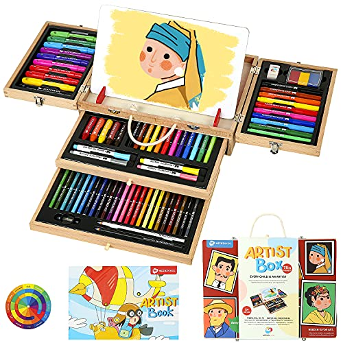 MEEDEN KIDS Art Kit for Kids 80 Pieces, Portable Beech Wood Box Drawing Set with Coloring Book, Silky Crayons, Dual Tip Pens, Pencils and Other Painting Art Supplies for Kids Budding Artists