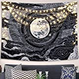 Accnicc Moon and Star Tapestry Wall Hanging Tapestries Black and White Wall Blanket Wall Art for Living Room Bedroom Home Decor (Black, 60''x80'')
