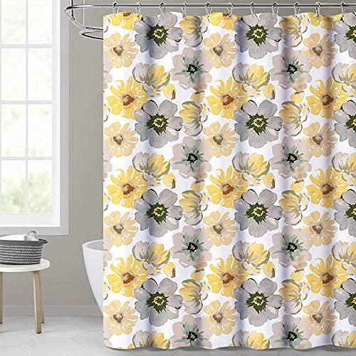 Cortina de ducha impermeable para baño con diseño de hojas de palma tropical sobre fondo blanco cortina botánica accesorio decoración conjunto 72 x 72 pulgadas con ganchos