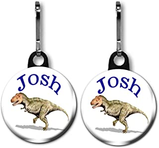 Buttons by Doug Dinosaur Zipper Pull/Bag Tags Two 1.0 inch Charms Personalized with Name