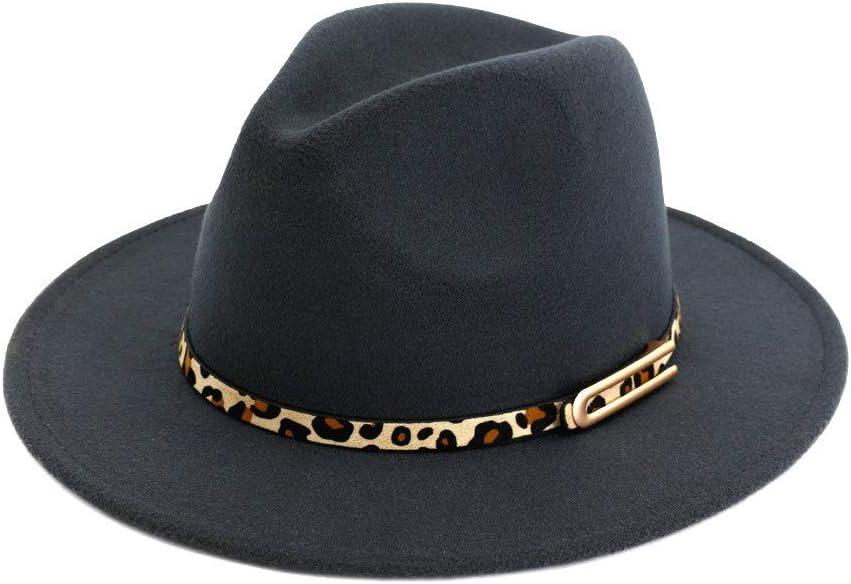 no-branded Unisex Cotton Jazz Hat Gentle Fedora Hat Panama Retro Hat Autumn Winter with Belt with Leopard Print ZRZZUS (Color : Dark Gray, Size : 56-58cm)