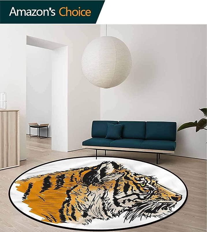 RUGSMAT Tiger Modern Washable Round Bath Mat Sketch Bengal Carnivore Living Room Bedroom Study Soft Carpet Diameter 35