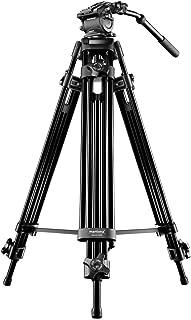 Mantona Dolomit 1200 Videostativ 158 cm (inkl. Fluid Neiger, Wasserwaage, Schnellwechselplatte) für DSLR und Videokamera