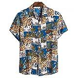 SCLDX Camisa Hawaiana para Hombre - Camisa De Playa Informal De Verano con Estampado Abstracto Funky De Manga Corta con Botones Blusas con Cuello Vuelto para Fiestas De Vacaciones Ropa, Azul, XXL