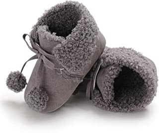[Kukiwa] 子供ブーツ ファーストシューズ ボール付きブーツ子供 防寒対策 新生児靴 フワフワベビー 動物プリント 裏起毛かわいい 赤ちやん ベビーシューズ 幼児靴 室内履き 出かけ