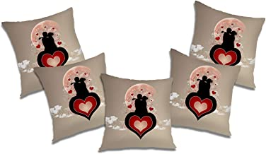 RADANYA Heart Couple Printed Polyester Cushion Cover Set of 5 Pcs - 20x20 Inch, Ivory
