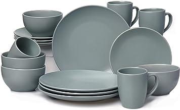 JOOYUM Dinnerware Sets,Matte series,16 Piece Dinnerware Set Kitchen and Dining, Service for 4,Gray Matte