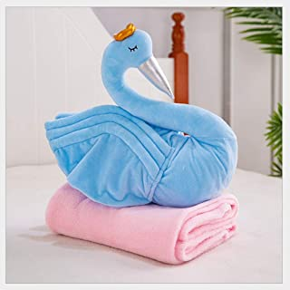 HPDT1 Soft Swan PP Cotton Filled Plush Pillow Doll Kawaii Plush-Toy with Air-conditioning Blanket Birthday Present Touch S...