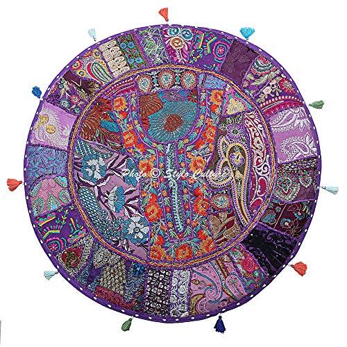 Stylo Culture Indisch Dekorativ Rund Bodensitzkissen 70x70 cm Groß Bodenkissen Pouf Vintage Lila Boho Patchwork Wohnzimmer Baumwolle Bestickt Boden Sitzkissen Garten