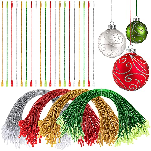 Nuanchu Christmas Ornament Hangers Locking Ropes Fasteners Hanging Ropes Hang Tag Polyester Ropes Price Tag Hanging Ropes for Christmas Party Hanging Decor (Gold, Red, Green, Silver,400 Pieces)