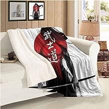 Xlcsomf Travel Blanket Japanese Decor Collection Soft and Comfortable (60 x 47 inch) Samurai Warrior Figure on Sunburst Background Ronin Japan Indigenous War Theme Red Black White