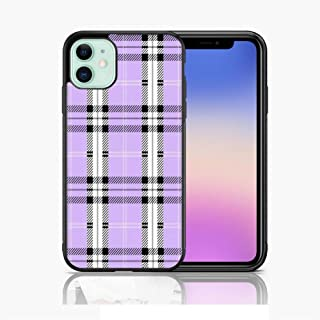 Xunqian iPhone 11 Case, Limited Edition Lavender Plaid Thin Soft Black TPU +Tempered Mirror Material Protective Case for ...