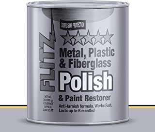 Flitz Multi-Purpose Polish and Cleaner Paste for Metal, Plastic, Fiberglass, Aluminum, Jewelry, Sterling Silver: Great for Headlight Restoration + Rust Remover, Made in the USA, 3 Pack, 2lb Quart Can