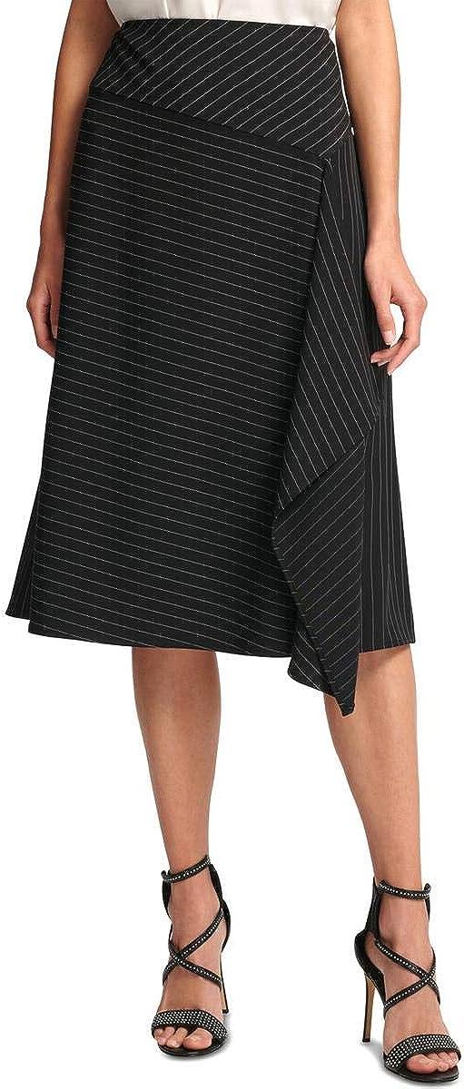 DKNY Womens Black Ruffled Zippered Pinstripe Below The Knee Wear to Work Skirt Size 14