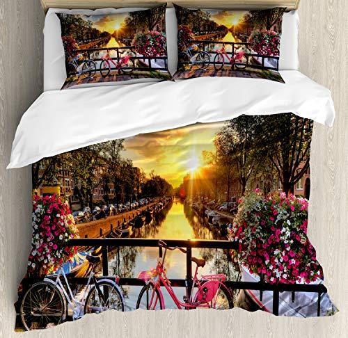 ABAKUHAUS Amsterdam Dekbedovertrekset, Zonsopgang over de stad, Decoratieve 3-delige Bedset met 2 Sierslopen, 230 cm x 220 cm, Veelkleurig