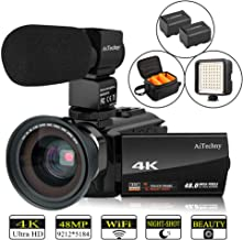 Video Camera 4K Camcorder AiTechny Ultra HD Digital WiFi Camera 48MP 16X Digital Zoom Recorder IR Night Vision 3.0