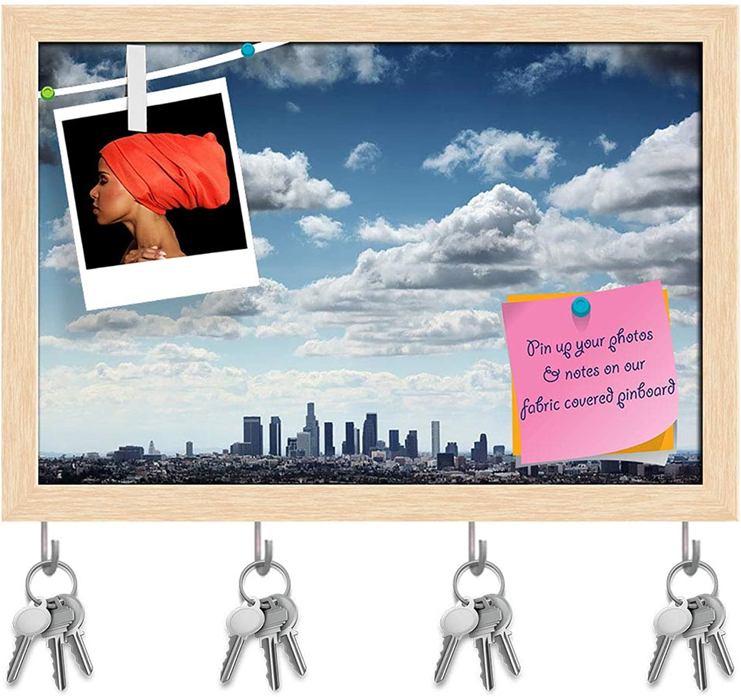 Artzfolio Downtown Los Angeles Skyline, USA Key Holder Hooks   Notice Pin Board   Natural Brown Frame 14.5 X 10Inch