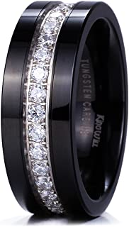 GEM Mens 8mm Black Polished Finish Tungsten Carbide Ring Cubic Zircon Stones Flat Style