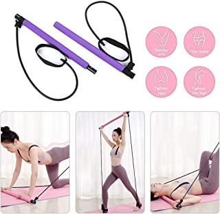 PROTAURI Pilates Resistance Band and Toning Bar Home Gym, Portable Pilates Bar Kit Total Body Workout, Yoga, Fitness, Stre...