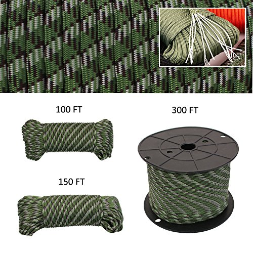 Geelife 640lb Parachute Cord Survival Utility 9 Strands Core 4mm Commercial Grade Paracord (Camo Green, 150 ft)