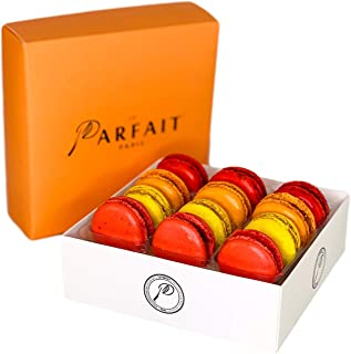 Le Parfait Paris Macaron Fruit Box - Heavenly Gourmet French Meringue-Based Dessert Set - Baked and Delivered Fresh - Delicious Luxury Gift, Party Favor, and Sweet Snack - Pack of 12 Fruity Macarons