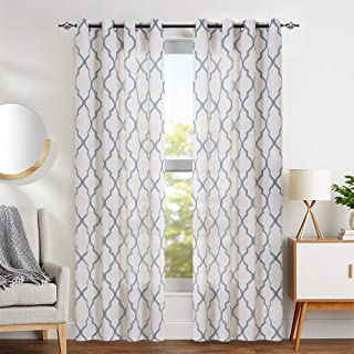 jinchan Moroccan Tile Print Curtains for Bedroom- Quatrefoil Flax Linen Blend Textured Geometry Lattice Grommet Window Treatment Set for Living Room 50