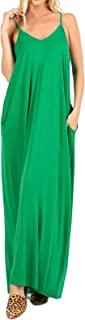 Women's Summer Casual Plain Flowy Pockets Loose Beach Cami Maxi Dress