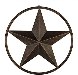 "EBEI 24"" Rustic Metal Barn Star Circle Dark Brown Texas Lone Star Wall Decor Art.."