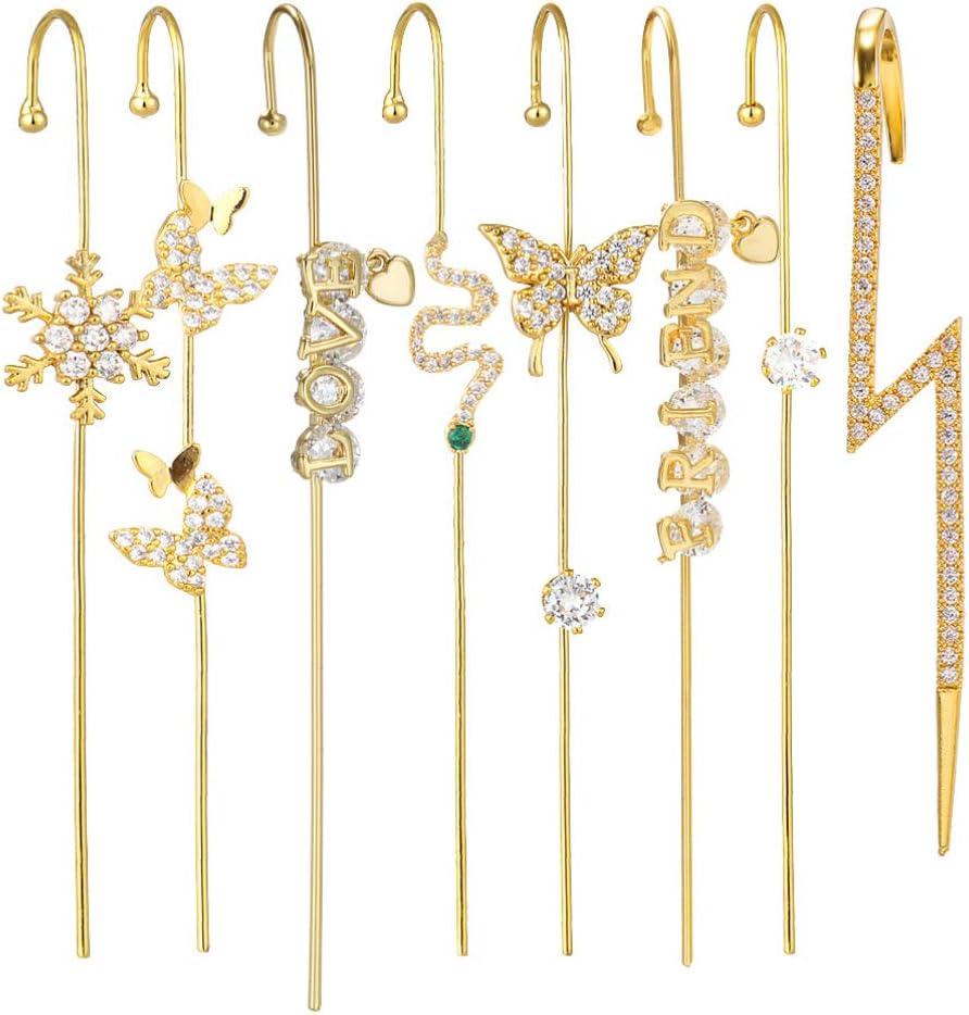 Holibanna 8Pcs Ear Wrap Crawler Hook Earrings Women Ear Cuff Earrings Sparking Ear Jewelry
