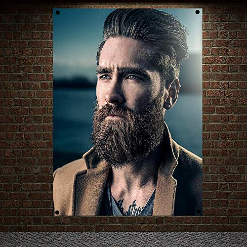 Classic Pompadour Men's Beard Hairstyle Barber Shop Decor Wall Chart Flag Canvas Painting 96x144 cm (38X57 inches) B2