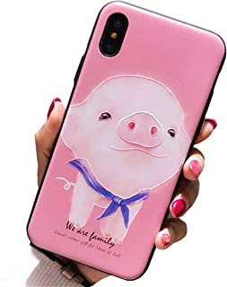 BONTOUJOUR iPhone Xs Max Cover Case Super Cute Cartoon Animal Pattern Hard PC Back Soft TPU Silicon Cover For Girls Strong Protection - Pink Pig