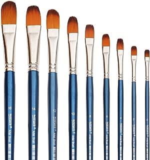 Filbert Paint Brushes Set, 9 Pcs Professional Artist Brush for Acrylic Oil Watercolor Gouache Painting Long Handle Brushes Nylon Hair