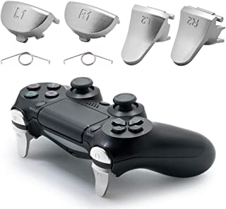 TOMSIN Metal Triggers for PS4 Slim/ PS4 Pro Controller, Aluminum Metal L1 R1 L2 R2 Trigger Buttons for PS4 Controller Gen 2 (Silver)