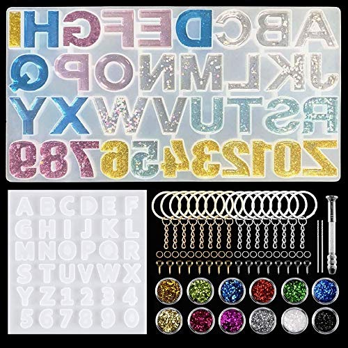 257 PCS Alfabeto Números Molde Silicona Resina,Resina Moldes para hacer artesanías de joyería DIY,Juego de Herramientas