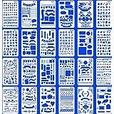 24個のブレットノートブックジャーナルステンシルプラスチックプランナーセットジャーナリング用品/日記/スクラップブックDIY図面テンプレートステンシル17.8x10.4 cmキットアクセサリー