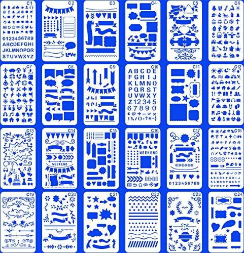 24 Stück Bullet Notebook Journal Schablone Kunststoff Planer Set für Journaling Suppies/Tagebuch/Scrapbook DIY Zeichenschablonen Schablonen 10,2 x 17,8 cm Kit Zubehör