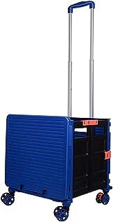 JeeKoudy Chariot de magasinage Portable 48L, boîte de Rangement Pliante à 4 Roues, Panier d'épicerie Multifonctionnel, Tab...